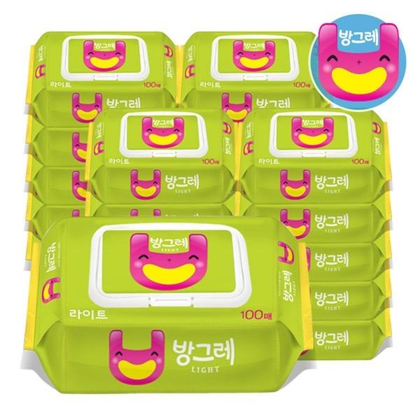 방그레 라이트 캡형 100매 10팩+10팩 아기 물티슈