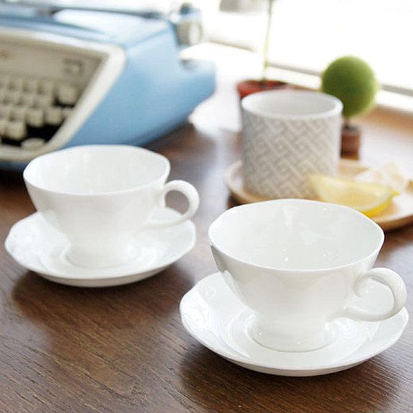 유럽풍 순백 화이트 도자기 커피잔 받침 4인세트/찻잔