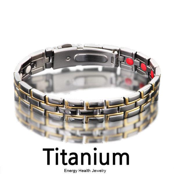 건강팔찌 3 IN 1 티타늄 자석 시계버클타입 남자팔찌