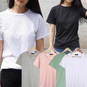 반팔 티 티셔츠 브이넥 라운드 면 기본 무지 여름