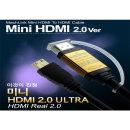 마하링크 HDMI to MINI HDMI Ver2.0 골드 케이블 10M