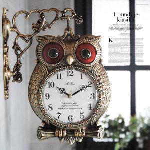 인테리어 부엉이 엔틱 양면 벽 시계 소품 집들이 선물
