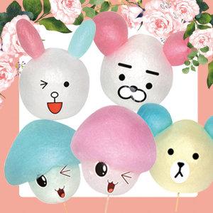 캐릭터 솜사탕 스티커 / 곰 토끼 사자 버섯돌이스티커