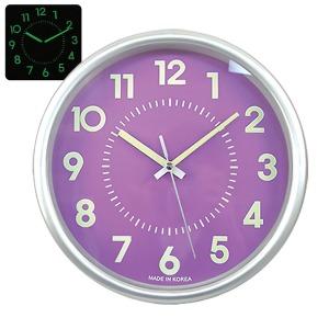 무소음 야광실버 28cm 퍼플 인테리어벽시계
