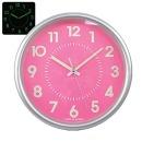 무소음 야광실버 28cm 핑크 인테리어벽시계