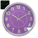 무소음 야광크롬 28cm 퍼플 인테리어벽시계