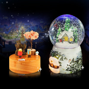 LED 오르골 워터볼 뮤직박스 크리스마스 선물 나무