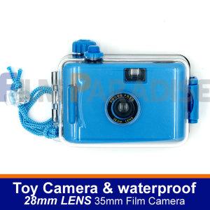 토이카메라 35mm 롤필름 전용 및 방수카메라-블루