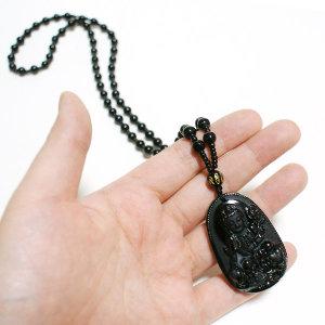 흑요석 부처님조각 장식 경면주사 팬던트 원석 목걸이