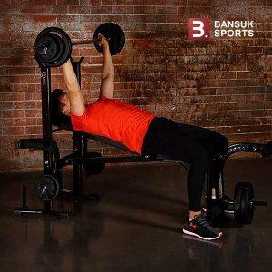(현대Hmall) 반석스포츠  접이만능벤치 PVC바벨50kg 세트/역기봉포함/벤치프레스