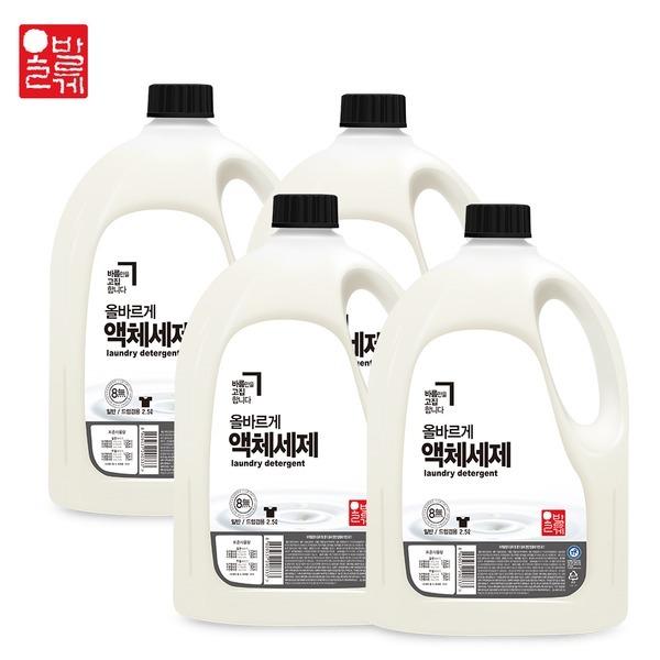 올바르게8無 액체 세제/섬유유연제 세탁 겸용 2.5L 4개