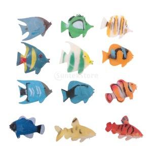 12P PVC 열대어 동물 모델 피규어 아이 교육 장난감