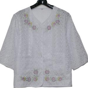 꽃자수 브이넥 브라우스 할머니옷 어머니옷