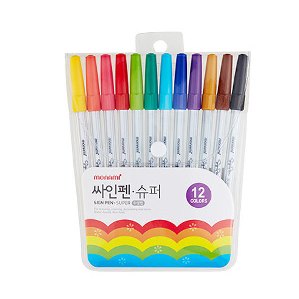 모나미 12색 슈퍼 사인펜 싸인펜