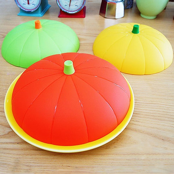 국산 다용도 실리콘 호박 뚜껑 덮개 특대 3색/접시 컵