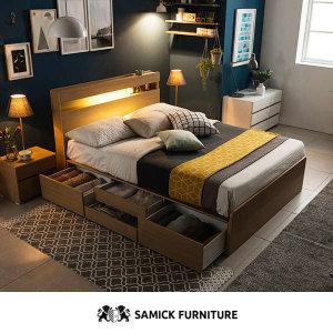 (현대Hmall) 삼익가구 디오네 LED 4단서랍 수납 침대(SB 7존 독립스프링 매트리스-퀸)