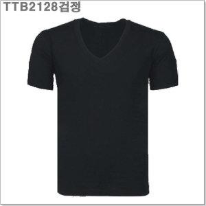 (TTB2128검정) 30수 브이넥 반팔티_라인몰라운드티
