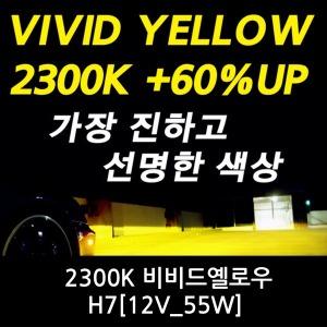가장 진한 2300K 비비드옐로우 60%밝기UP H7_12V 55W