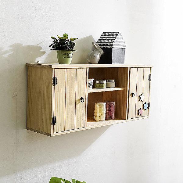 [햇살맑은집] 원목인테리어벽선반장 벽걸이주방수납 찬넬나무받침대