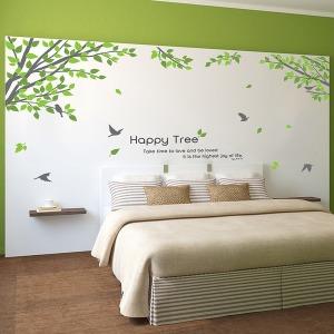 인테리어 포인트스티커 벽지 IP006-해피나무