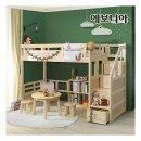 라텍스무료UP  에보니아 미키 키높이 계단 수납형 기본형 원목 벙커 침대 / 2층침대 벙커침대 아동 주 ...