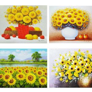 진품 해바라기 그림 액자 풍수 부자되는 유화 꽃그림