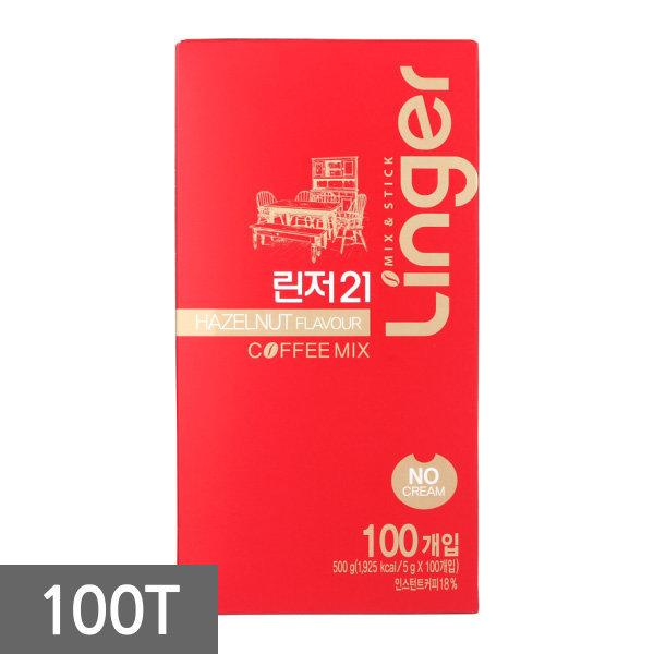 린저21 노프림 헤이즐넛 커피믹스 100T(커피+설탕)
