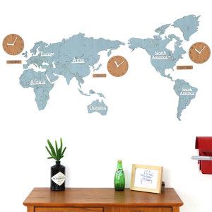 컬러우드 NEW 세계지도(블루) 디자인 벽시계 무소음
