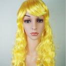 옐로우 웨이브 가발 행사 파티 컬러 긴머리가발