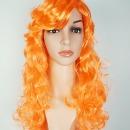 오렌지 웨이브 가발 소품용 컬러 긴머리 파마가발