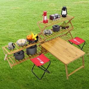 접이식 캠핑테이블 선반 원목테이블 쉘프 수납 정리