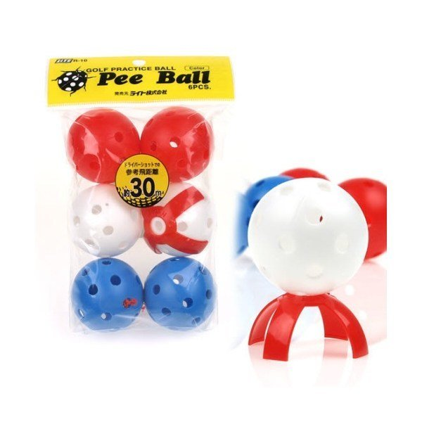 OnCo  일본 라이트 Pee Ball(피볼) 연습볼(비거리약30m/6개입)/골프연습볼