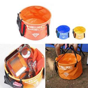 헐크 캠핑용 설거지통 오렌지 26L 다용도 접이식 물통