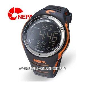 온라인공식판매처  NEPA 네파 50LAP스탑워치/8알람 조깅용 스포츠시계 N223-BLACK-ORAGE