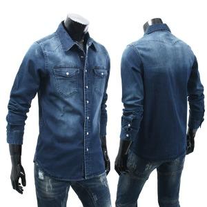 빅사이즈 남자 청남방 남성 L~4XL 스판 데님셔츠 TM620