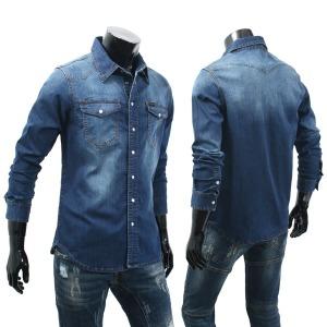 빅사이즈 남자 청남방 남성 L~4XL 스판 데님셔츠 TM621