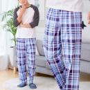 남자 파자마 잠옷 바지 9부 실내복 면100% 블루 체크D