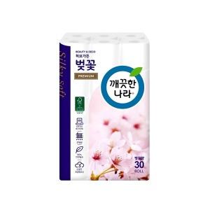 깨끗한나라 벚꽃 프리미엄 3겹 27m 30롤 화장지 휴지