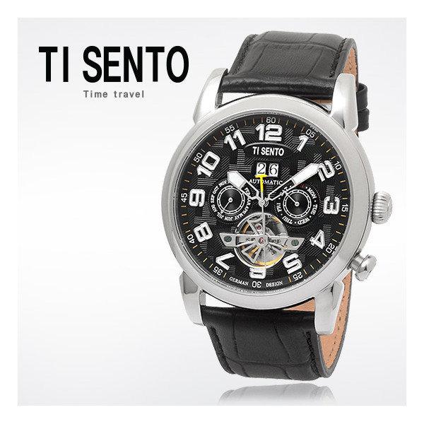 티센토  남성 오토매틱 가죽시계 TS50031WTB_DATE
