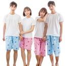커플 엠보파자마 잠옷바지 5부 7부 홈웨어 고래여행