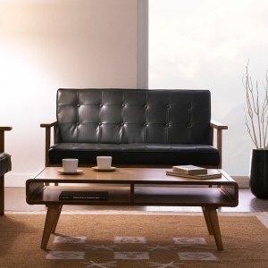 (아리아퍼니처 (ARIA FURNITURE) ) DT-1902-Black-PU 2-Seater Sofa 가죽소파