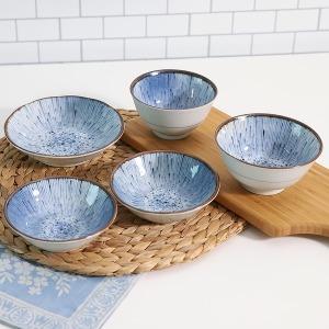 일본산 미노야 인디고블루1인조5p/면기세트/식기/그릇
