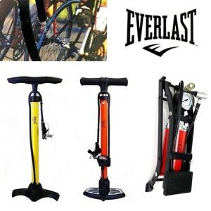 EVERLAST 게이지형 자전거펌프 공기주입기 펌프 주황색