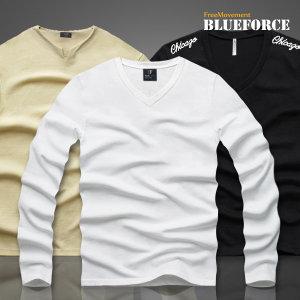 신상 브이넥티/남자옷기본무지라운드프린트티셔츠