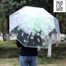 꽃비 3단 투명 우산