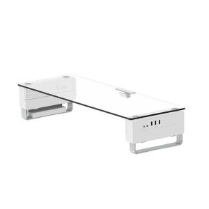 모니터받침대 높이조절 USB허브 강화유리 컴퓨터선반