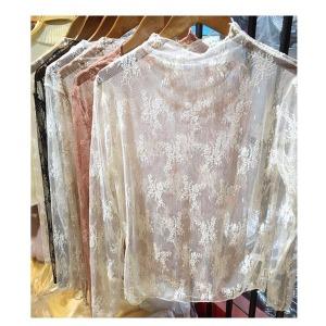 레이스티 망사티 루즈핏 티셔츠 프릴 브라우스 시스루