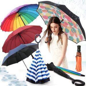플래닛 3단자동 반전 장우산 장마 답례 기념품 판촉물