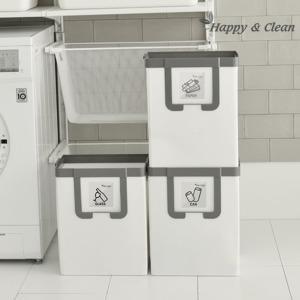 경량 3단 재활용 분리수거함 나눔이 화이트N그레이