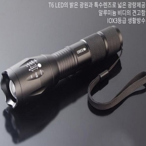 LED 손전등 후레쉬 방수 줌기능 강력 T6(건전지증정)